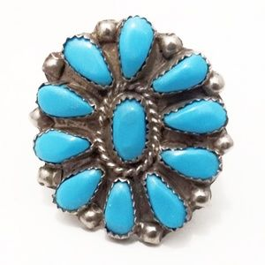 Tremendous VTG Navajo Old Pawn Turquoise Ring